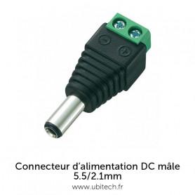 Connecteur d'alimentation DC Mâle avec bornier à vis 5.5mm / 2.1mm