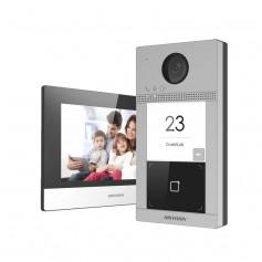 Kit interphone vidéo IP antivandale avec lecteur de badge Hikvision DS-KIS604-S