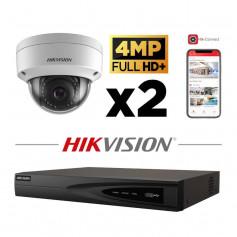 Kit vidéosurveillance 2 caméras IP dôme Hikvision full HD+ 4MP H265+
