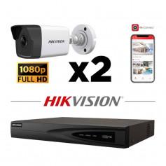 Kit vidéosurveillance 2 caméras IP tube full HD 2MP H265+