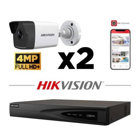 Kit vidéosurveillance 2 caméras IP tube ultra HD 4MP