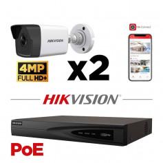 Kit vidéosurveillance PoE 2 caméras tube full HD+ 4MP H265+