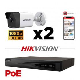 Kit vidéosurveillance POE 2 caméras IP tube full HD 2MP
