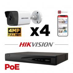 Kit vidéosurveillance PoE 4 caméras tube full HD+ 4MP H265+