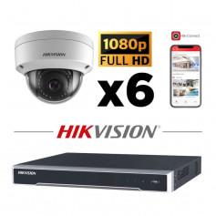 Kit vidéosurveillance 6 caméras IP dôme full HD 2MP H265+