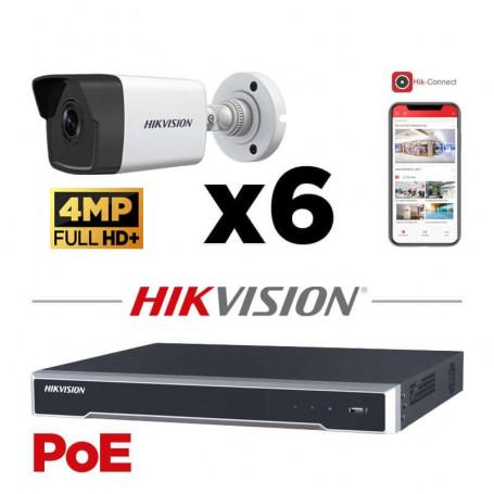 Kit vidéosurveillance PoE 6 caméras IP tube ultra HD 4MP