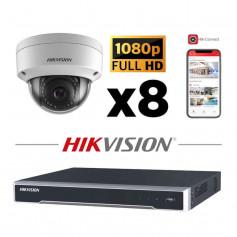 Kit vidéosurveillance 8 caméras IP dôme full HD 2MP H265+