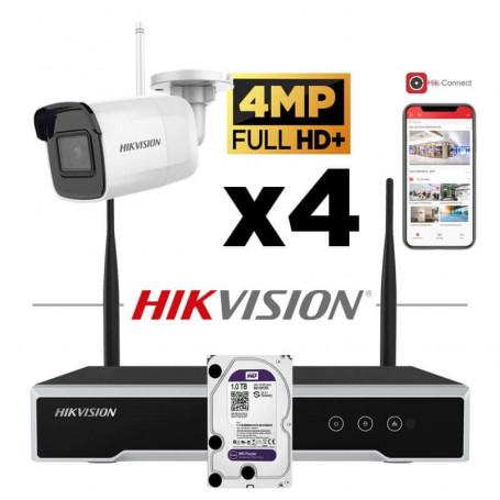 Kit vidéosurveillance Hikvision sans fil WIFI 4 caméras tube 4MP H265+