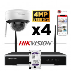 Kit vidéosurveillance Hikvision sans fil WIFI 4 caméras dôme 4MP H265+ NK44W1H-1T(WD)