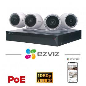 Kit 4 caméras PoE EZVIZ Full HD 2MP grand angle avec vision de nuit 30 mètres