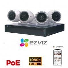 Kit 4 caméras PoE EZVIZ Full HD 2MP grand angle + NVR 8 ports PoE