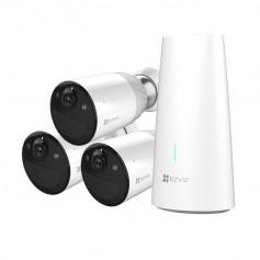Kit caméra de surveillance 3 caméras WiFi sur batterie full HD H265 avec vision de nuit en couleur EZVIZ BC1-B3