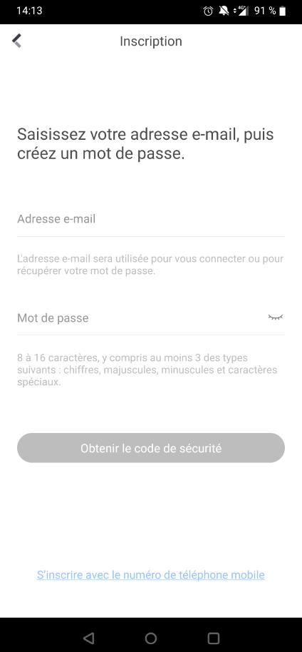 Enregistrement de compte Hik-Connect par numéro adresse email