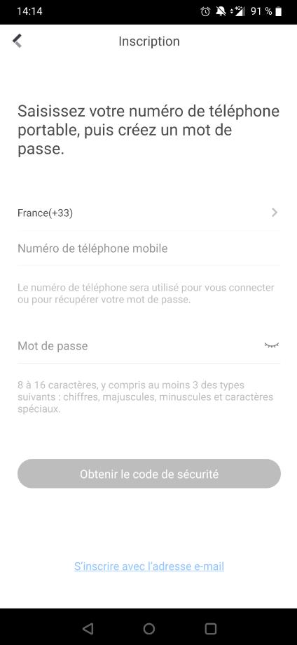 Enregistrement de compte Hik-Connect par numéro de téléphone