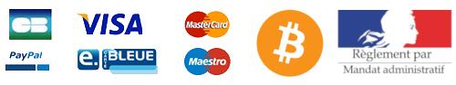 Logos Paypal, CB, VISA, Maestro, Bitcoin, Mandat administratif