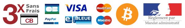 3x sans frais, Logos Paypal, CB, VISA, Maestro, Bitcoin, Mandat administratif